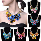 Hot Style Gold Chain Colorized Flower Spray Paint Beads Pendnat Bib Necklace
