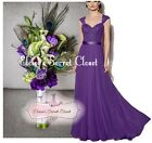 RIVA Cadbury Purple Lace Chiffon Maxi Bridesmaid Ballgown Dress Sizes UK 6 -18