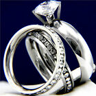 2.17 CT Clear Solitaire Engagement 316L Stainless Steel Wedding Ring Set