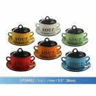 STONEWARE SOUP BOWL WITH LID AND SAUCER VARIOUS COLOURS by LESSER PAVEY