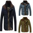 1 x Stand Collar Thermal Polyester & Cotton Blend Blackish Green Slim Coat Men