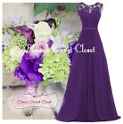 NWT GRACE Cadbury Purple Lace Chiffon Maxi Bridesmaid Ballgown Dress Sizes 6 -18
