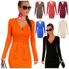 Women Sexy Long Sleeve Stretchy Jersey Deep V Neck Formal Cocktail Party Dress
