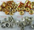 100pcs Silver/Gold Plated Red/Coffee/White Crystal Beads 10mm 12mm K2