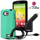 LG Tribute Shell Armor Hybrid Dual Layer Slim Fit Shockproof Case + Car Charger