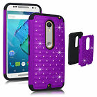 Hybrid Rugged Rubber Bling Crystal Case For Motorola Moto X Style Pure Edition