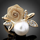 Women's Fashion Rose Faux Pearl Clear Crystal 9K Gold Plated Ring Party Jewelry