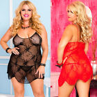 Plus Size Lingerie One Size Queen Black or Red Lace Mini Dress Chemise ML6662X