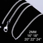 """925 Sterling Silver Filled medium Link Chain Necklace 2mm 18 20 22 24 Inch """""""