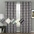 "Aryanna Jacquard Grommet Top Curtain Panel Pair (Set of 2) 108"" W x 63"" L"