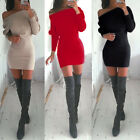 Sexy Womens Winter Off Shoulder Long Sleeve Bodycon Shirt Slim Mini Dress TY
