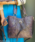 New American West Forget-me-Not, All Leather Western Handbag w/ Strap-Amethyst