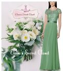 BNWT JULIA Bamboo Sage Green Lace Chiffon Prom Bridesmaid Ballgown Dress 6 -18