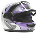 Snowmobile Helmet Adult Purple Black Gray Dual Lens DOT