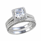 Wedding Band Engagement Ring Set For Women 925 Sterling Silver 2.8ct Princess Cz