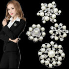 Xmas Gift New Crystal Rhinestone Flower Wedding Bridal Bouquet Pearl Brooch Pin
