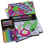 A4 COLOUR THERAPY ANTI STRESS ADULT COLOURING BOOK PENCILS PAD ART FLOWERS CALM