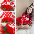Cute Baby Kid Girls Lady Christmas Candy Santa Lace Tutu Dress Skirt Outfit 1-7Y