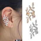 Beauty Punk Rock Retro Earring Crystal Leaf Ear Cuff Warp Clip Ear Stud