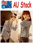 3 - 6 Days AU Shipping Double Pocket Long Sleeve Stripe Chiffon Blouse Shirt Top