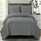 Gray Chervon Coverlet set Luxury Microfiber Embossed Print Quilted