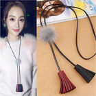 Hot Women Sweater Long Necklace Chain Lock Leather Tassel  Hairballs Necklaces