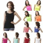 Sexy Womens Lace Flower Crochet Ribbed Tank Top Sleeveless T-shirt Casual Cami