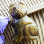 Intriguing Carved Mixed Stone Cat Figurine Dcoration LX34