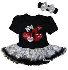 Baby 1st Valentine's Day 2016 Black Silver Bodysuit Tutu Party Dress