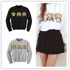 Damen Pullover Pulli Sweatshirt Tunika Top Strick Langarm Emoticon S-XL M9099