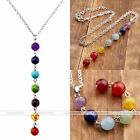 7 Round Gemstone Crystal Agate Chakra Pendant Bead Silver Chain Necklace New