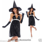 C141 Ladies Glamour Witch Deluxe Black Halloween Fancy Dress Costume Outfit
