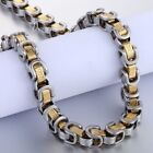 8mm Mens Chain Greek Pattern Box Byzantine Link Stainless Steel Chain Necklace