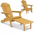 Outdoor Adirondack Wood Chair Foldable w Pull Out Ottoman Patio Deck Furniture