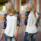 Womens Long Sleeve Cotton Floral Print Baseball Blouse Loose Shirt Tops Jumpers