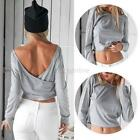 Fashion Women's Long Sleeve Backless Crop Top T shirt Clubwear Blouse Slim Tops