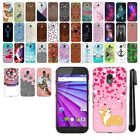 For Motorola Moto G 2015 3rd Gen XT1541 PATTERN HARD Back Case Phone Cover + Pen