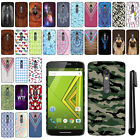 For Motorola Moto X Play XT1562 PATTERN HARD Back Case Phone Cover + Pen