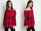 RED BELL SLEEVE TOP OFF the Shoulder Peasant Boho Lace Long Sleeve Tunic S M L