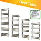 Designer Oval Column Heated Towel Rail Bathroom Heater UK Centre Heating Chrome