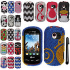 For LG Extravert VN271 DIAMOND BLING CRYSTAL HARD Case Phone Cover + Pen