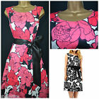 NEW DEBENHAMS TEA DRESS PROM SUMMER RETRO 50'S PINK BLACK IVORY FLORAL 8 - 16