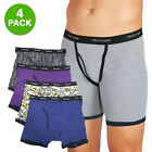 4 Pack - Fruit of the Loom 100% Cotton Ringer Style Men's Boxer Briefs