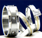 1.43 CT Solitaire Clear CZ Engagement Ring Wedding Band 316L Stainless Steel Set