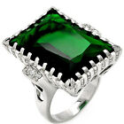 925 Sterling Silver Large Emerald Cut Emerald & Clear CZ Promise Ring Size 3-11