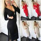 Fashion Women V Neck Zip Up Long Sleeve Winter Bodycon Cocktail Party Mini Dress