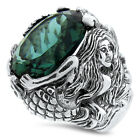 MERMAID RING SIM EMERALD 925 STERLING SILVER VICTORIAN RING,                #829