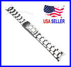20mm Stainless Steel Curved End Oyster Watch Band Bracelet with Flip Lock Clasp image