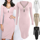NEW LADIES FRONT PLUNGE V NECK ZIP DRESS SIDE SLIT WOMEN RIBBED LOOK BODYCON TOP