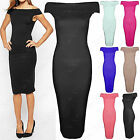LADIES BARDOT OFF SHOULDER MIDI DRESS WOMEN BODYCON TOP KNEE LENGTH PENCIL SKIRT